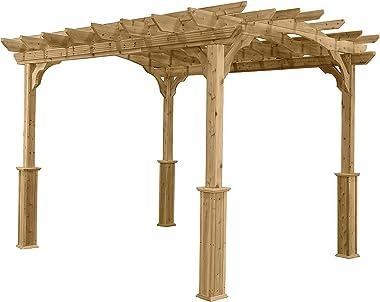 Suncast10' x 12' Wood Pergola - Open Stable Pergola Perfect for Outdoor Settings, Backyards, Gardens, Patio BBQs, Ou