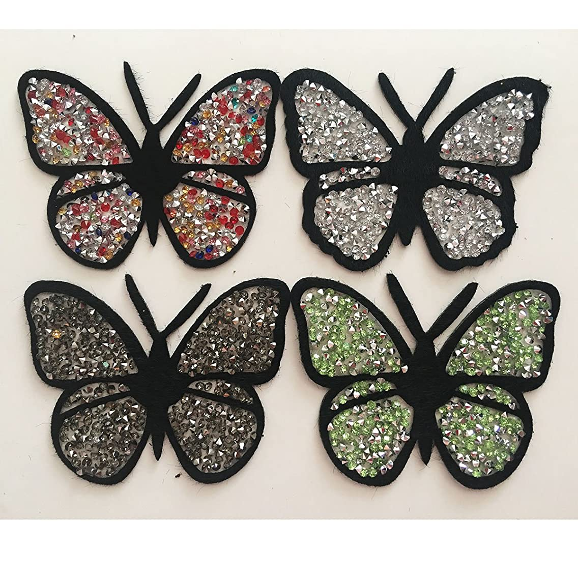 Yazon 4pcs Rhinestone Butterflies Appliques Patches Sew on Decorative Patch Iron on