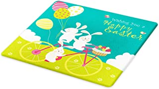 Lunarable Easter Cutting Board, Bunnies on Bike with Balloons and Eggs on a Hill with Clouds Cartoon, Decorative Tempered Glass Cutting and Serving Board, Small Size, Teal Green