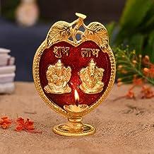 Collectible India Laxmi Ganesha Diya Idol Statue- Brass Gold Finish Diya Oil Lamp Hindu Ganesh Lakshmi Showpiece Shubh Lab...