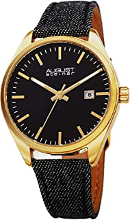 August Steiner Womens Quartz Watch, Analog Display and Leather Strap AS8266BK