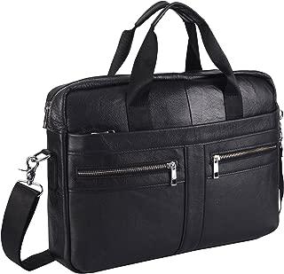 Leather Briefcase Laptop Bag Messenger Shoulder Work Bag Crossbody Handbag for Business Travelling Christmas for Men (BFZ-Black)