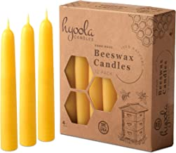 Hyoola Beeswax Candles 12 Pack – Handmade, All Natural, 100% Pure Scented Bee Wax Candle - Decorative, Golden Yellow – 4 H...
