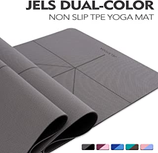 TENOL JELS Yoga Mat Non Slip Dual-Color Eco Friendly Yoga Mat Thick Exercise & Workout Mat with Free Carry Strap for Yoga Pilates and Fitness(72x26x1/4)
