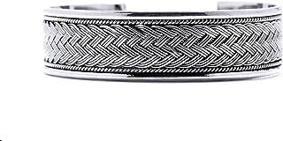 Windalf - Bracciale vichingo fatto a mano, 17 mm, con motivo a nodo celtico, stile etnico, in argento Sterling 925
