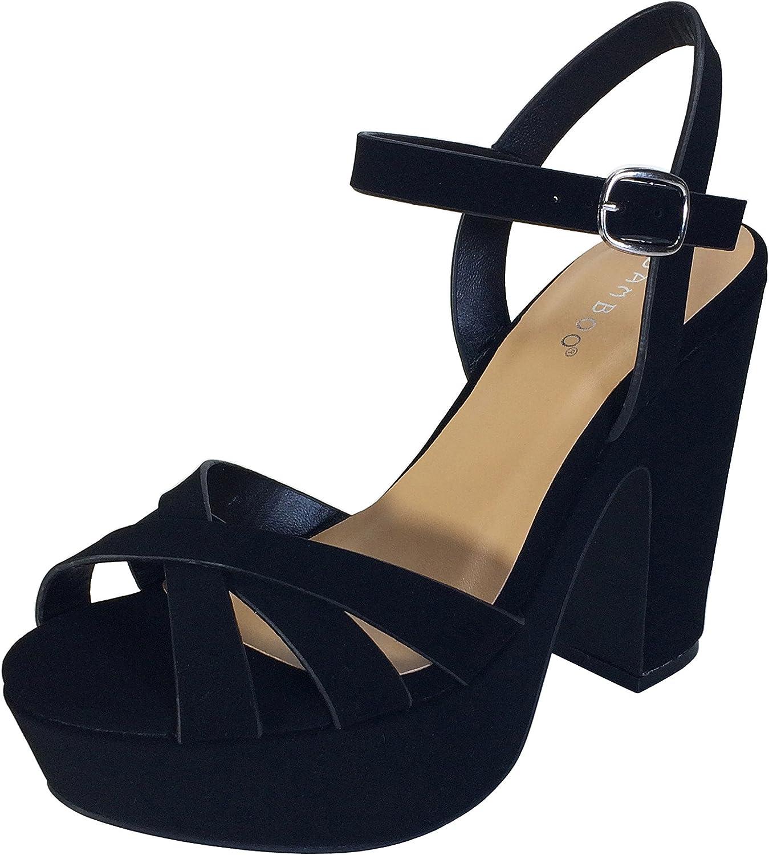 Bamboo Women's Simple Platform Chunky Heel Sandal