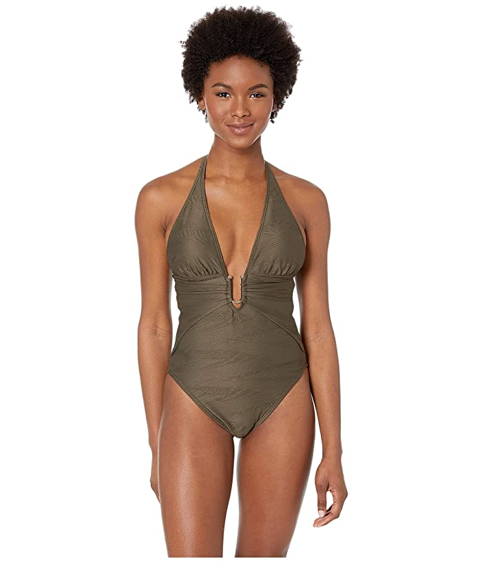 Vince Camuto Pacific Wave Plunging Texture One-Piece (Bonsai) Women