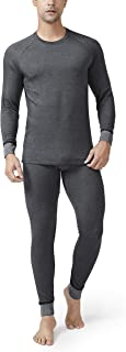 DAVID ARCHY Men's Double Layer Fleece Brushed Thermal Top & Bottom Ultra Winter Warm Stripe Thermals Set Long John with Fly