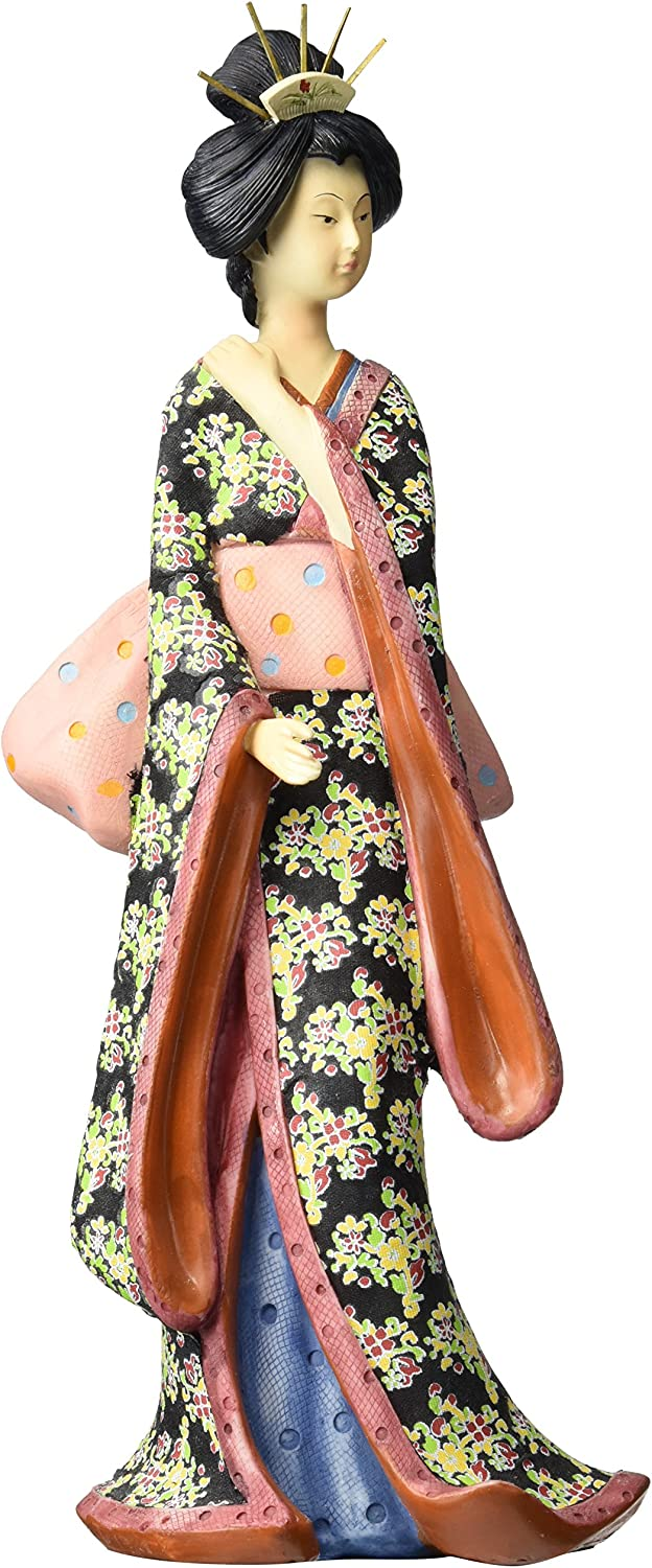 Oriental Furniture Interesting Unique Simple Beautiful Gift Idea for Her, 14-Inch Hand Painted Geisha Figurine Statue with Pastel Sash