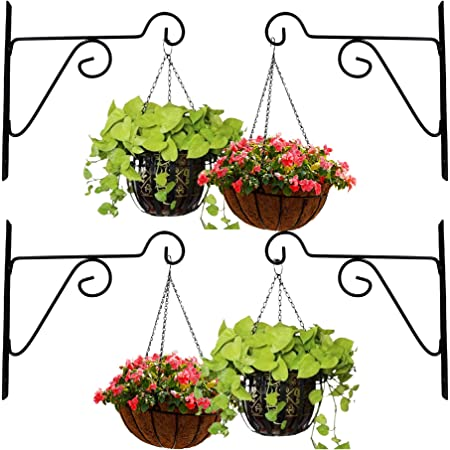 Leafy Tales Plant Hanger Brackets Wall Mounted - Metal Hanging Hooks, Holder for Indoor Outdoor Planters - Black - Set of 4