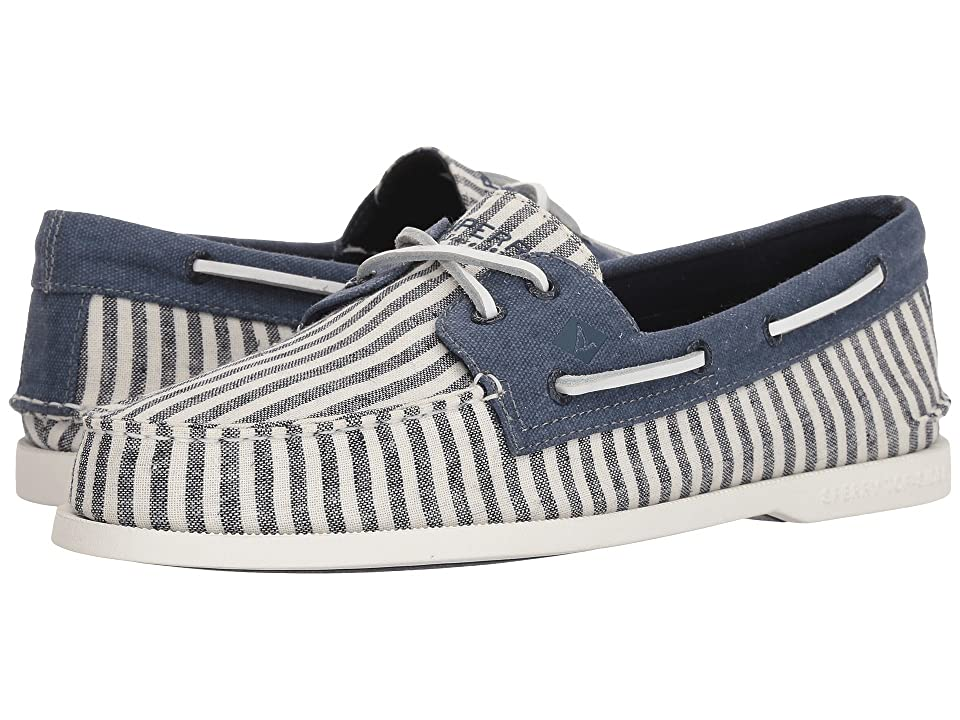 Sperry A/O 2-Eye Washed (Navy/White Stripe) Men