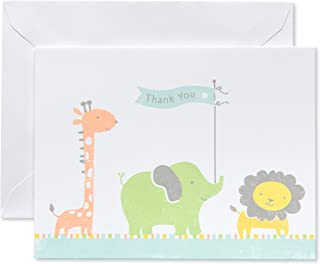 American Greetings Baby Thank You Cards with Envelopes, Giraffe, Elephant and Lion (50-Count)