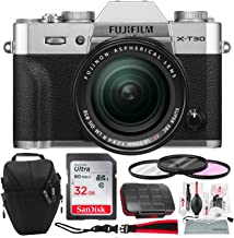 $1329 Get Fujifilm X-T30 4K Wi-Fi Mirrorless Digital Camera with XF 18-55mm Lens Kit - Silver with 32GB Bundle and Travel Photo Cleaning Kit