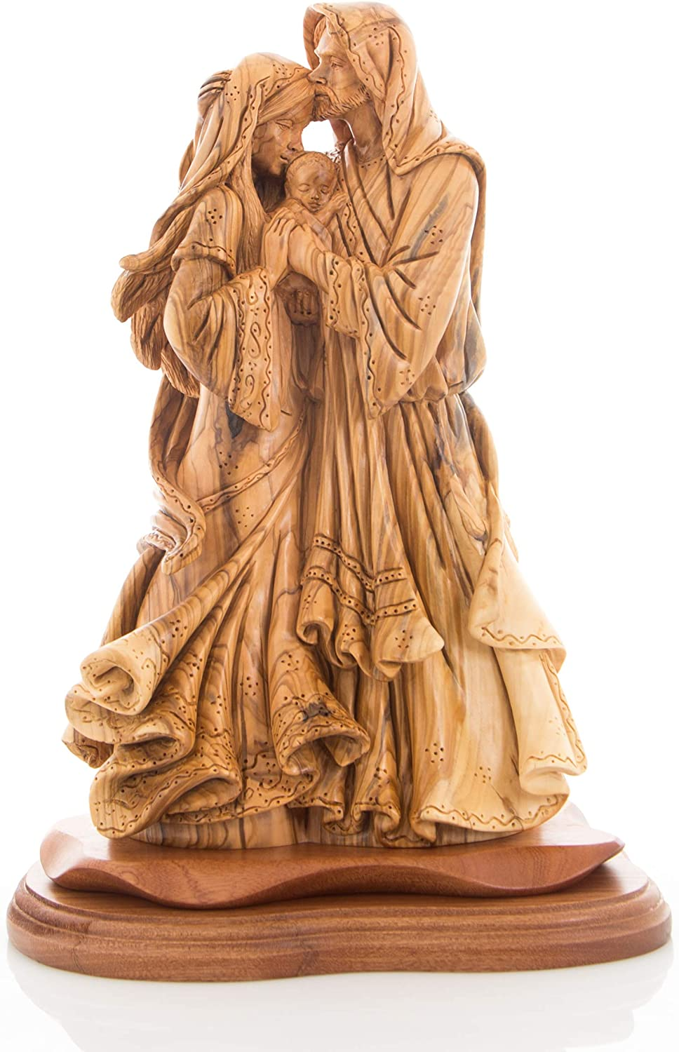 Amazon Com Bethlehem Handicrafts Olive Wood Adoring Holy Family Masterpiece Statue Home Kitchen