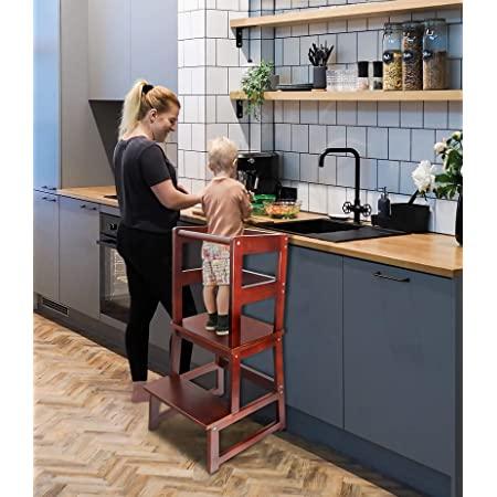 Amazon Com Wishalife Kids Kitchen Step Stool With Safety Rail Toddler Kitchen Stool For Toddlers 18 Months And Older Children Standing Tower Kids Wooden Step Stool Tower For Kitchen Counter Learning Kitchen