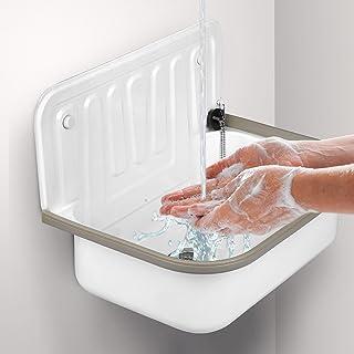 Ausgussbecken 50cm aus robustem Stahl für Keller Waschküche Garten Spülbecken weiß inkl. Abflussstopfen