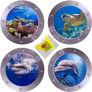 OTDCGI 4 PCS Ocean World Wall Stickers & Plastic Spatula, 11 Inches Diameter Porthole 3D Sticker Sea Life Wall Decor