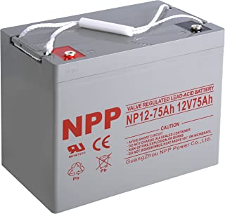 NPP NP12-75Ah Rechargeable 12V 75 Ah Sealed Lead Acid Battery with Button Style Terminals