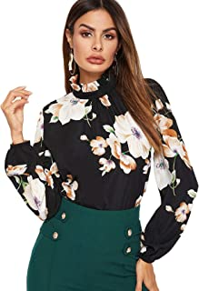 Floerns Women's Floral Print High Neck Long Sleeve Chiffon Blouse