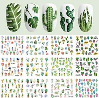 12 Designs Cactus Water Decals Nail Sticker Green Plant Leaf Watermark Flakes Slider Tattoo Nail Art Decoration