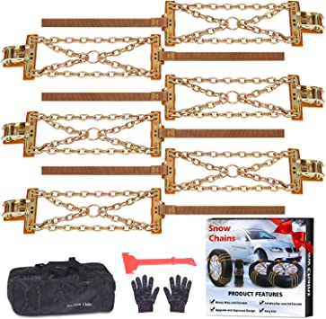 Tire Chains, Snow Chains for suvs, Cars, Sedan, Family Automobiles,Trucks with Update Adjustable Lock for Ice, Snow,Mud,Sand,Applicable Tire Width 215-315mm/8.5-12.4in (6 PCS) (Cross Style): image