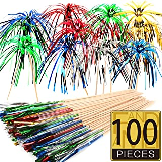 FANDAMEI 100 Pieces Foil Frill Firework Cupcake Picks Party Cake Toppers Food Picks for Party Decoration (9 Inch ,Multicolor)