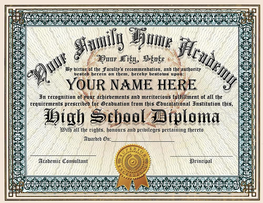 Family Home School Novelty Diploma Personalized Custom Printed with Your personal Info PLUS we will add a Navy Blue gold embossed quality Certificate Cover - Premium Quality - 8.5