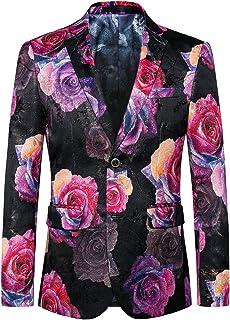 MOGU Mens Blazer Pink Floral Leisure Banquet Large Size Slim Blazer