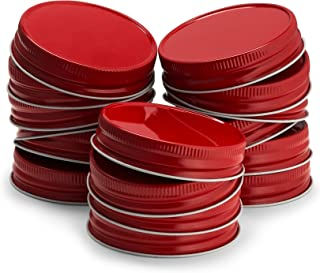 KooK Mason Jar Lids Regular Mouth, Leak Proof and Secure, 16 pack, Red