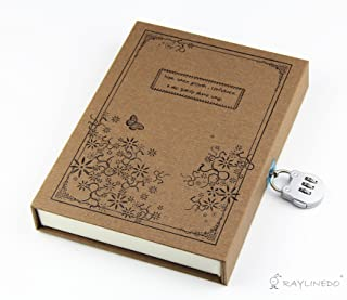 RayLineDo Brown Vintage Hard Cover Jounrnal Dairy A5 Notebook 80Gsm Ruled 288Pages With Hard Gift Box And Code Lock