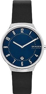 Skagen Grenen Stainless Steel Quartz Three-Hand Date Watch With Leather or Steel Mesh Strap