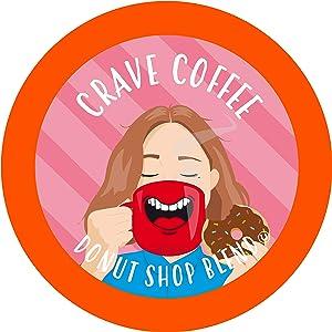 Crave Beverages Donut Shop - Medium Roast Coffee Pods for Keurig K Cup Brewers, 40 Count