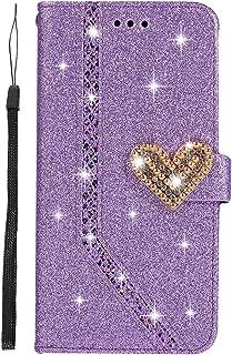 DENDICO Coque Galaxy S9 Plus Briller Portefeuille /à Rabat Protection Flip Case en Cuir avec Fentes de Cartes pour Samsung Galaxy S9 Plus Violet