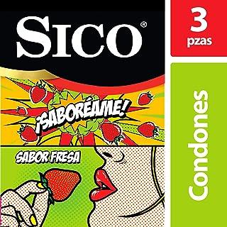 Sico Play Saboréame, Condones Sabor Fresa Diversión, Paquete con 3 Piezas