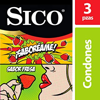 Condón de Látex, Sico Play Saboréame, Sabor Fresa, Cartera de 3 Piezas