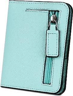 Cartera RFID de Mujer, YALUXE Cartera Doblada de Cuero Genuino Estilo Cruz Bolsillo con Cremallera para Monedas Azul Verde