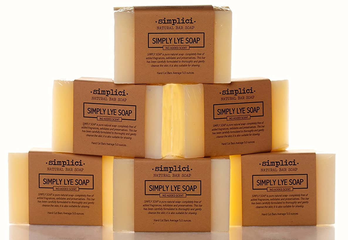 SIMPLICI Simply Lye Soap Value Pack (6 Bars of Unscented Natural Soap)