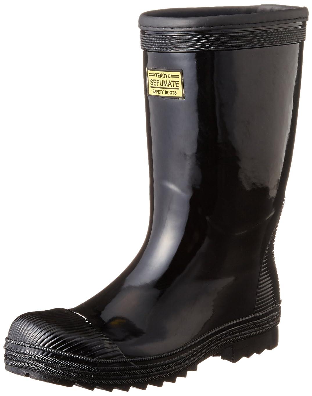 曲線シュートモナリザ[フジテブクロ] 安全長靴 軽半型 セーフティブーツ ゴム製 先芯 992 メンズ BLACK 0