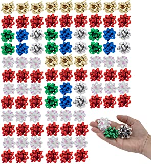 Berwick Offray (96 Pack 1.5 Inch Ribbon Confetti Gift Bows for Christmas Wrapping Paper Wrap Toppers