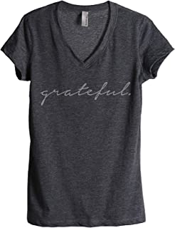 Grateful Women's Fashion Relaxed V-Neck T-Shirt Tee