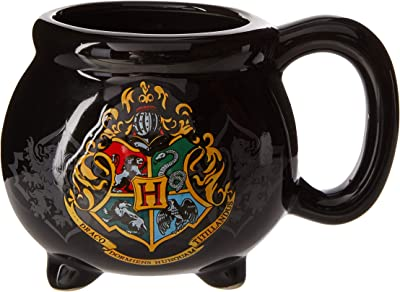 Warner Bros HP9895B Harry Potter Hogwarts School Crest Cauldron 3D Sculpted Ceramic Mug, 20-Ounces, Black