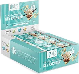 Keto Bars - 12 Count - Gluten Free Keto Friendly Bars Bars, Low Carb, Low Sugar, Kosher, High Fiber Snacks - Plant Based Protein Bars - Individually Wrapped (Vanilla Almond)