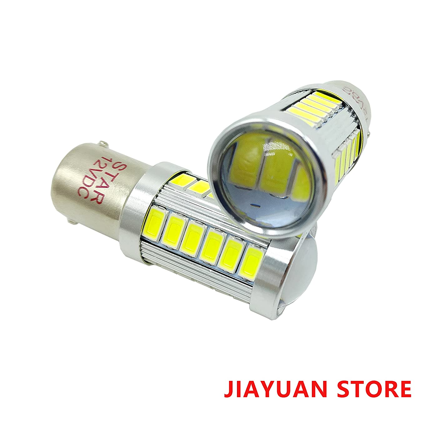 JIAYUAN BA15D 12V 1004 1142 90 1076 33-SMD LED Bulbs for Car Camper Interior Light Motorcycle LED Bulbs Replacement for Marine Boat RV with lens White 2-Pack