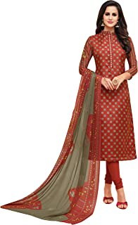 Rajnandini Women's Red chanderi silk Printed Semi-Stitched Salwar Suit Material With Printed Dupatta (Free Size)