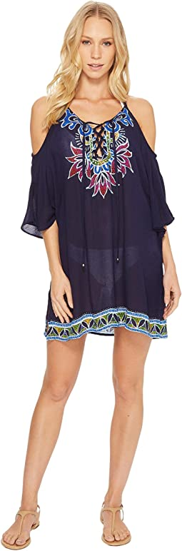 Trina Turk - Lotus Batik Off the Shoulder Tunic Cover-Up