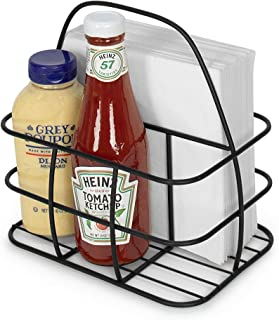 Takyl Home Metal Wire Condiment Holder Table Stand Caddy Organizer Rack with Handle for Salt Pepper Ketchup Mustard Bottles Dressing BBQ Steak Sauces Napkin Cutlery in Kitchen Restaurants, Black