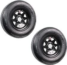 2-Pack Radial Trailer Tires On Rims ST205/75R15C 15X5 5-4.5 Black Spoke 3.19Pd