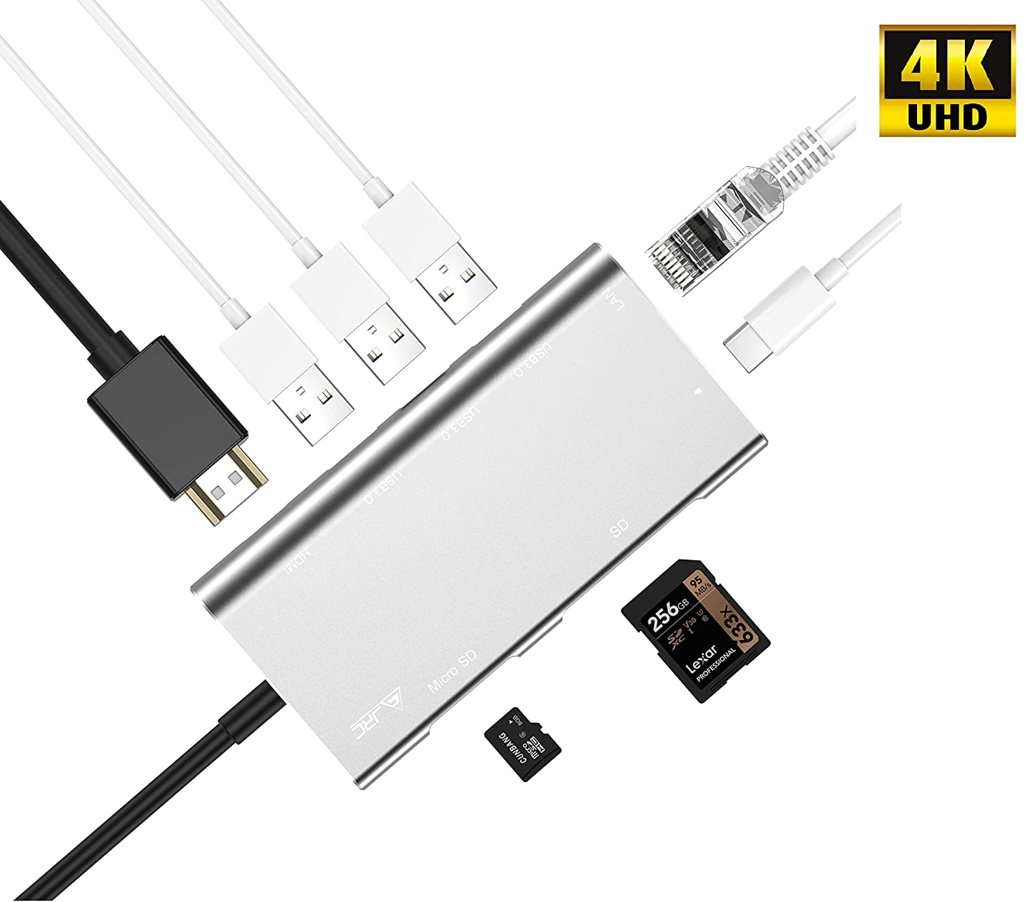 8 in 1 Thunderbolt 3 USB-C Hub Adapter with Type C,100W Power Delivery,1000M Ethernet Port,4K HDMI,3 USB 3.0 Ports and SD/TF Card Reader Compatible MacBook Air 2018,New MacBook Pro,ChromeBook,Surface,