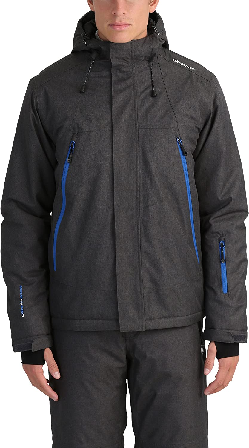 Ultrasport Men's Ski Jacket MelangeCold Wind, Moisture and Snow Resistant Outdoor Jacket with Rubber Snow Skirt, Thumb Loops and Insulated InteriorSnowboard Jacket for Men