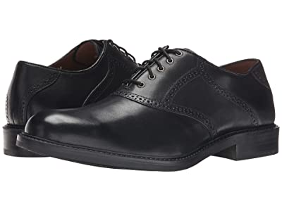 Johnston & Murphy Tabor Saddle Dress Oxford (Black Calfskin) Men